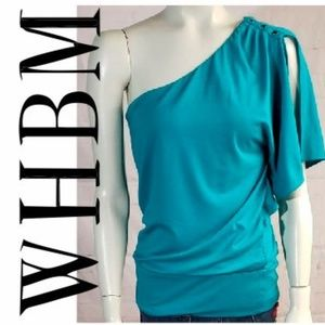 WHITE HOUSE BLACK MARKET BLUE ONE SHOULDER TOP MED